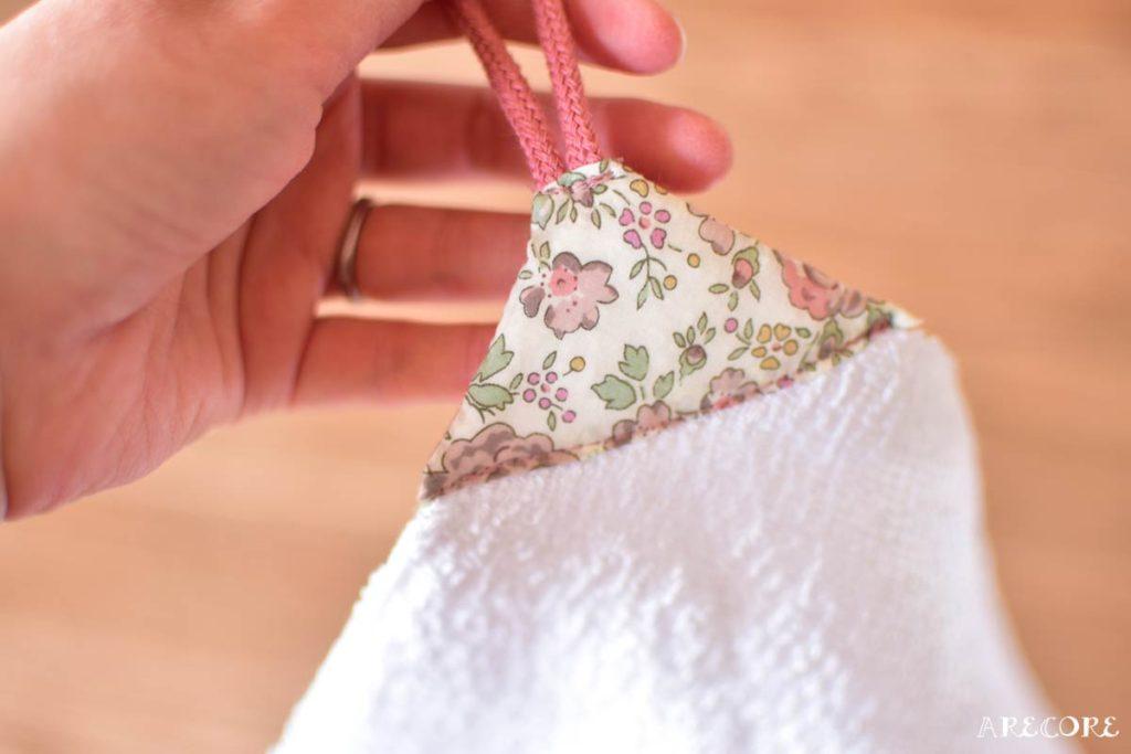 角にかぶせて縫う